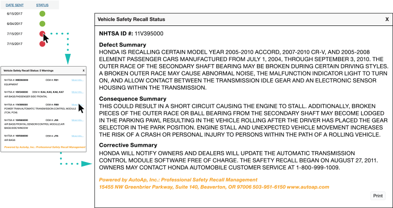 Vehicle Safety Recall Status screenshot